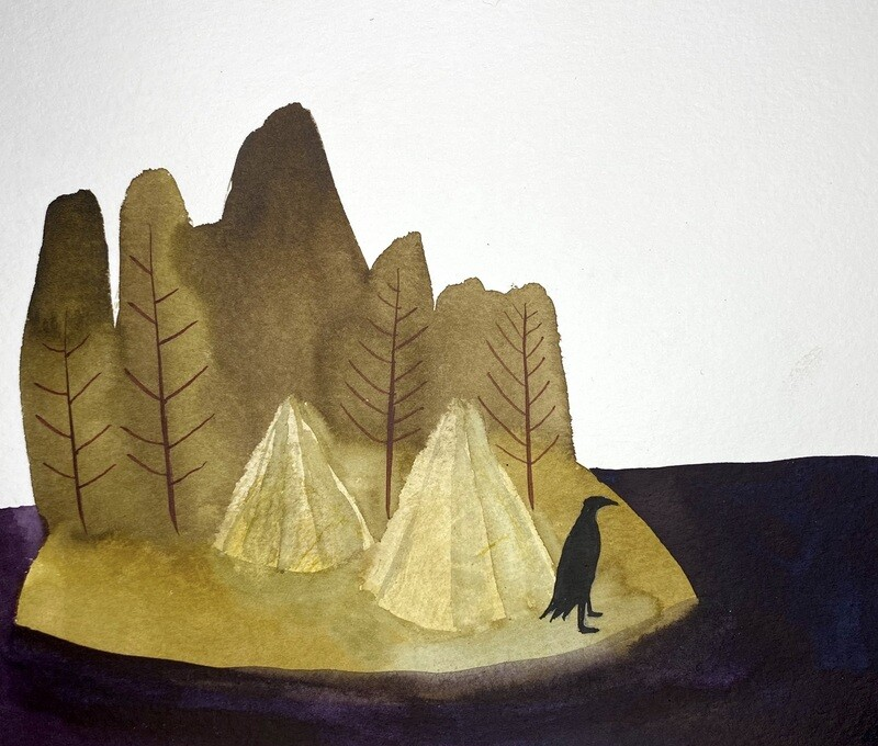 Travis Shilling Watercolour, Crow