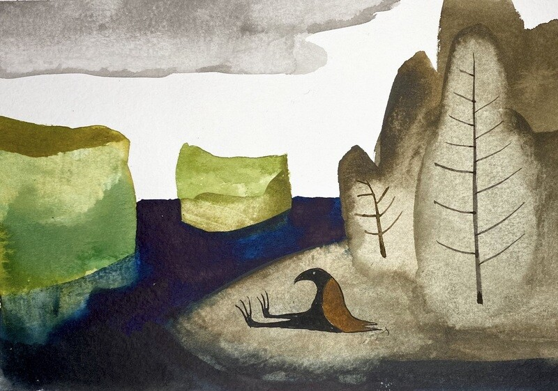Travis Shilling Watercolour, Heart of Gold