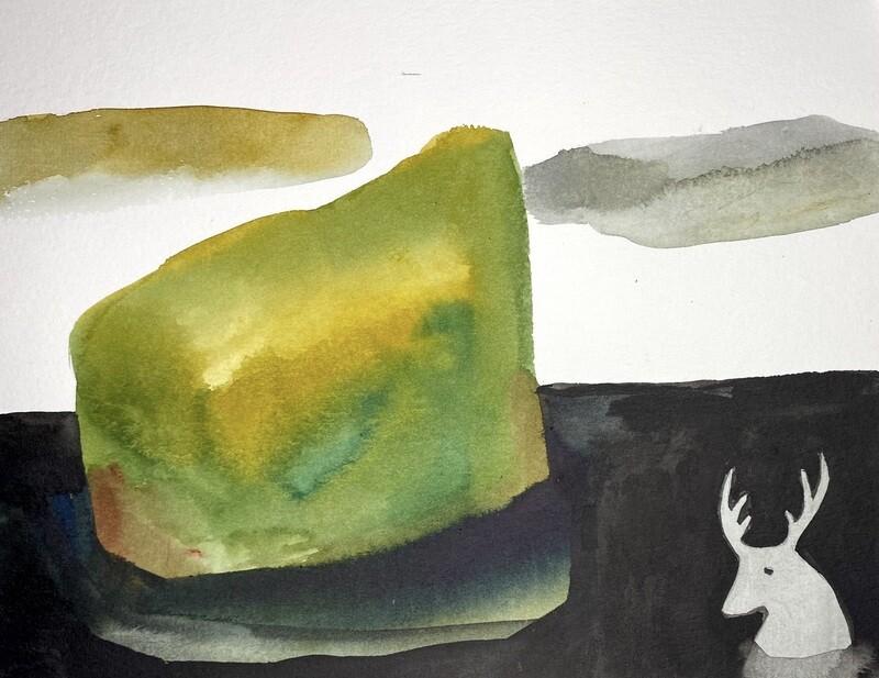 Travis Shilling Watercolour, Caribou