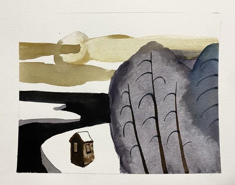 Travis Shilling Watercolour, The Cabin