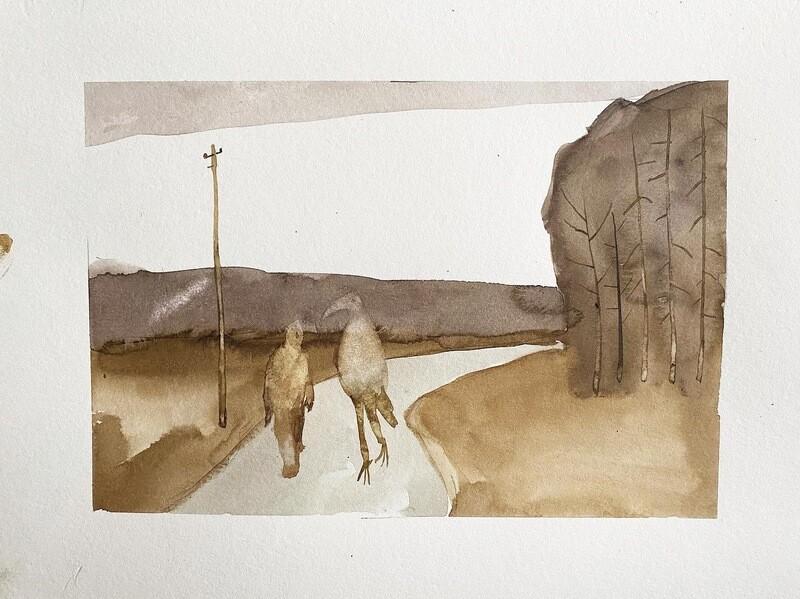 Travis Shilling Watercolour, Sasquatch and His Companion Walking the Back Roads