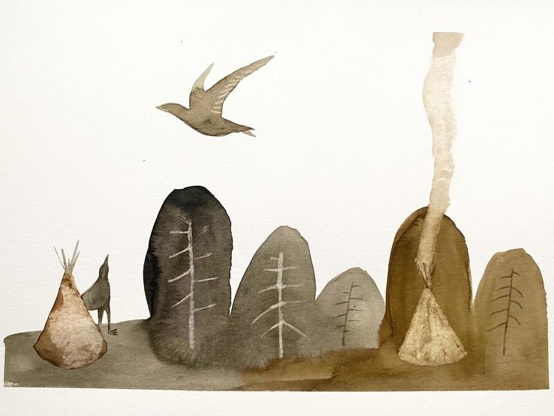 Travis Shilling Watercolour, Two Birds
