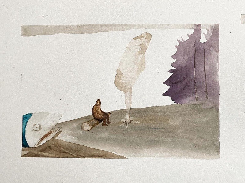 Travis Shilling Watercolour, Sabe Listening to the Fish Story