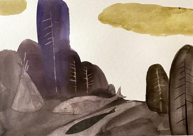 Travis Shilling Watercolour, Backroads