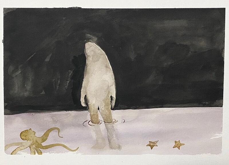 Travis Shilling Watercolour, Sasquash and the Mollusks