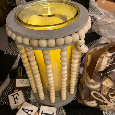 Beaded Candle Holder, candle Not Included