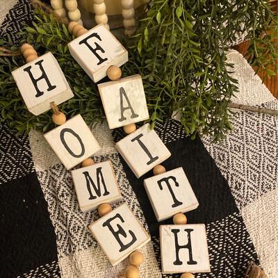 Faith Or Home Wood Block
