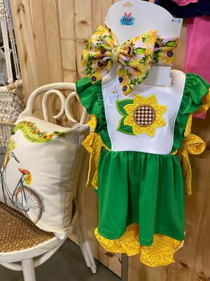 Girls Embroidered Sunflower Dress