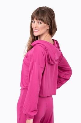 Pullover Crop Hoodie (Pink)