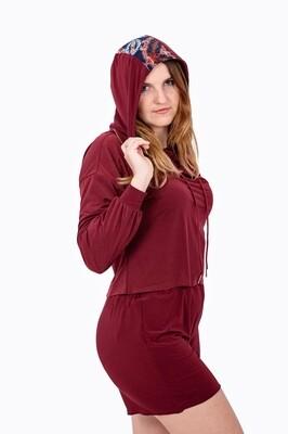 Pullover Crop Hoodie (Burgundy)