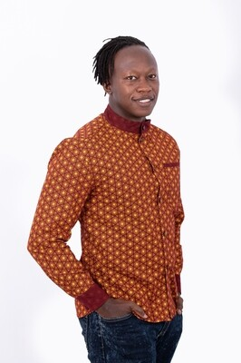 Wax Print Formal Shirt (Rust)
