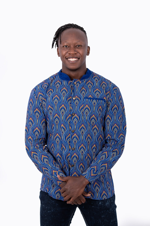 Wax Print Formal Shirt (Blue)