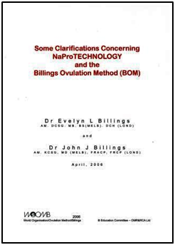 Some Clarifications Concerning NaPro TECHNOLOGY and the Billings Ovulation Method (BOM)DOWNLOAD English/Spanish
