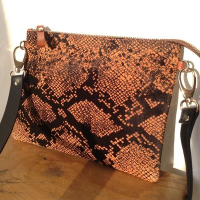 Cross body Snake Print Suede leather CARAMEL