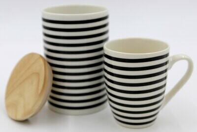 Cukrinė/saldaininė/sausaininė su mediniu dangteliu porcelianas, raštas juostelės, 15cm x10cm