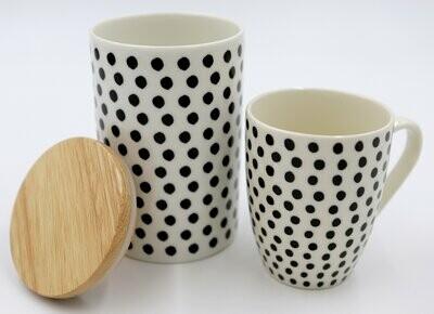 Cukrinė/saldaininė/sausaininė su mediniu dangteliu porcelianas, raštas žirneliais, 15cm x 10cm