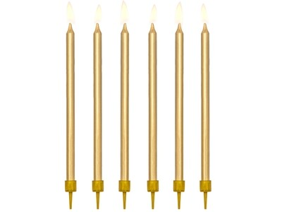 Žvakutės tortui, auksinės, 12.5cm/12vnt.