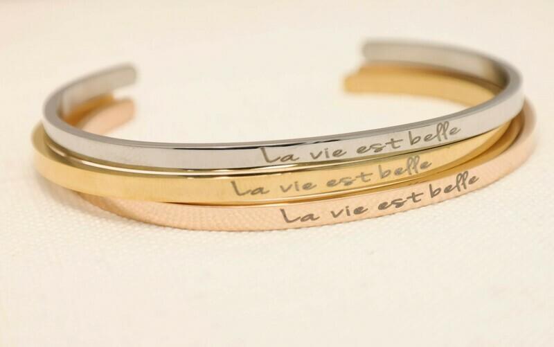 Beautiful 4 mm personalized bangle bracelet with 3 stunning colours