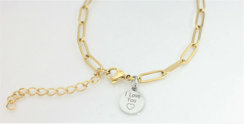 4mm fashion link bracelet with assorted/contrasting personalized medal