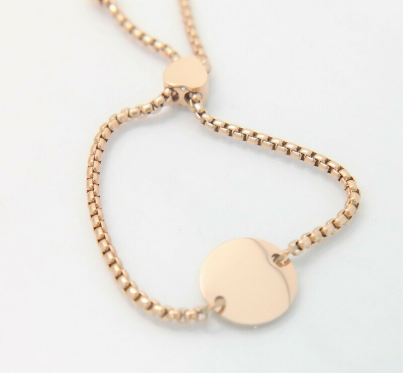 Beautiful trendy personalized bracelet, 15 mm round center, adjustable size, available in three colours