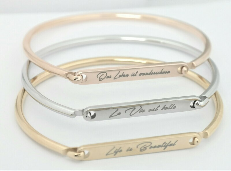 High quality personalized rigid bracelet with opening on the side