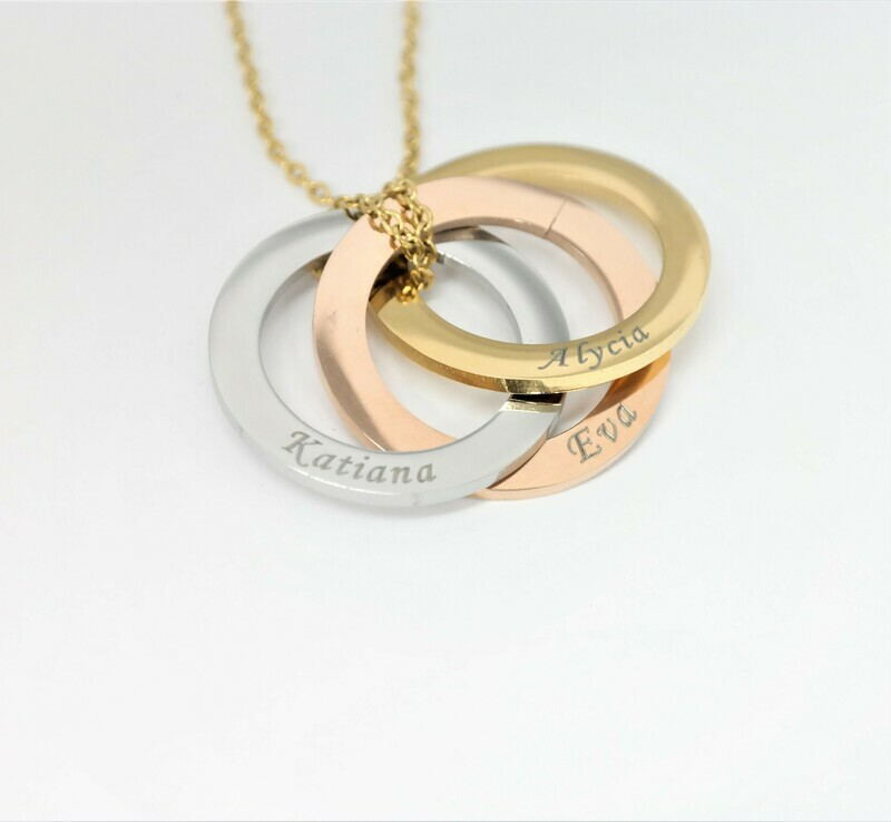 High quality personalized three-loops pendant in three intermigled colours