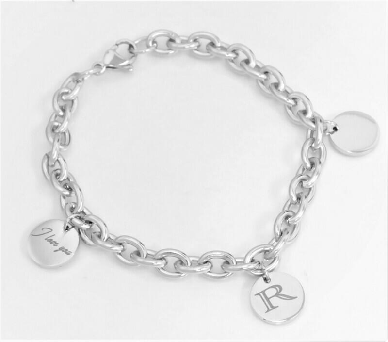 Trendy personalized  link charm bracelet