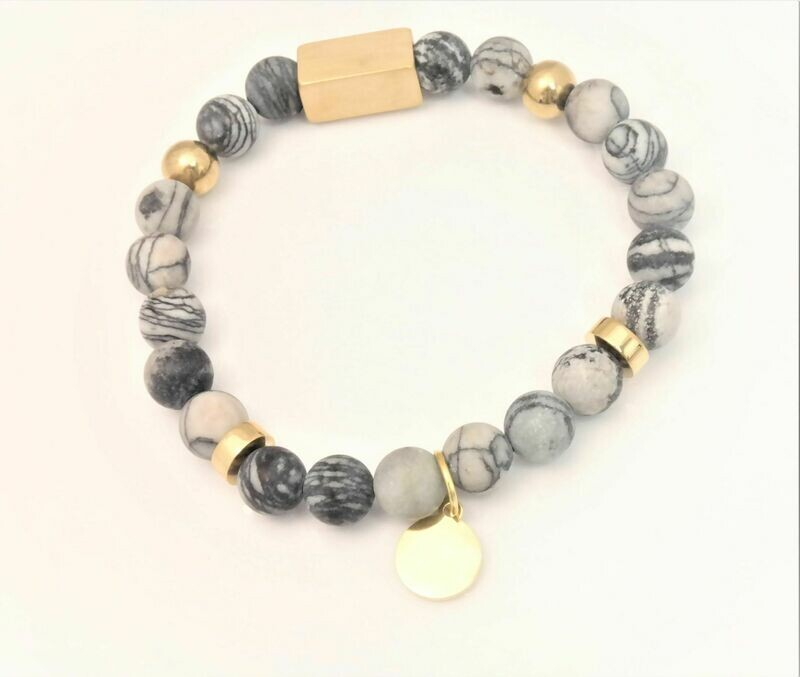 SEMI PRECIOUS TRENDY PERSONALIZED BRACELET WITH 8MM BEADS AND STAINLESS STEEL DIVIDERS
