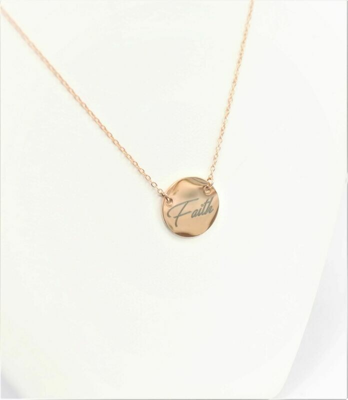 Beautiful 15mm round stainless steel personalized pendant necklace