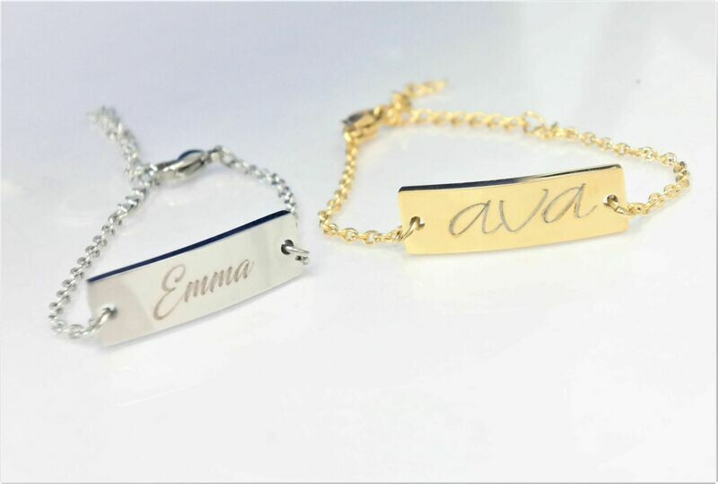 Hypo allergenic Stainless steel personalized Baby ID bracelet, available in gold and silver finish