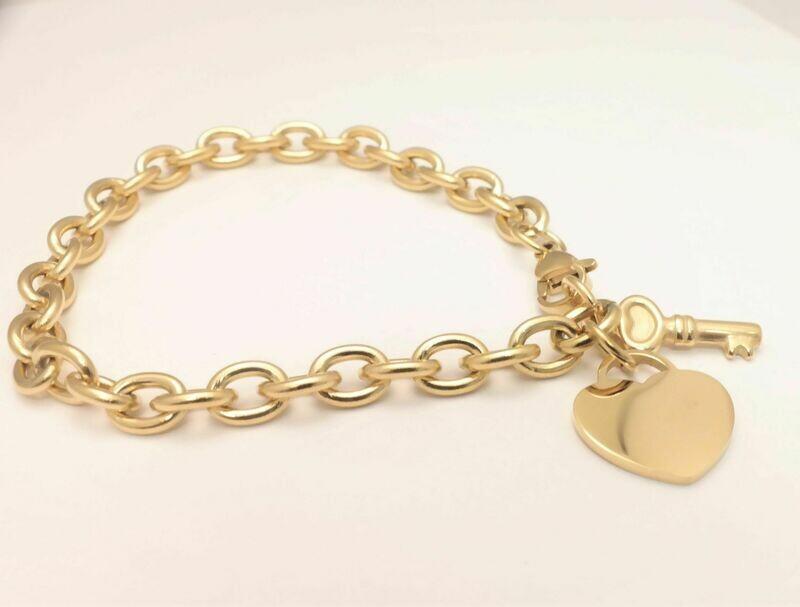 Personalized stainless steel woman Heart & Key bracelet