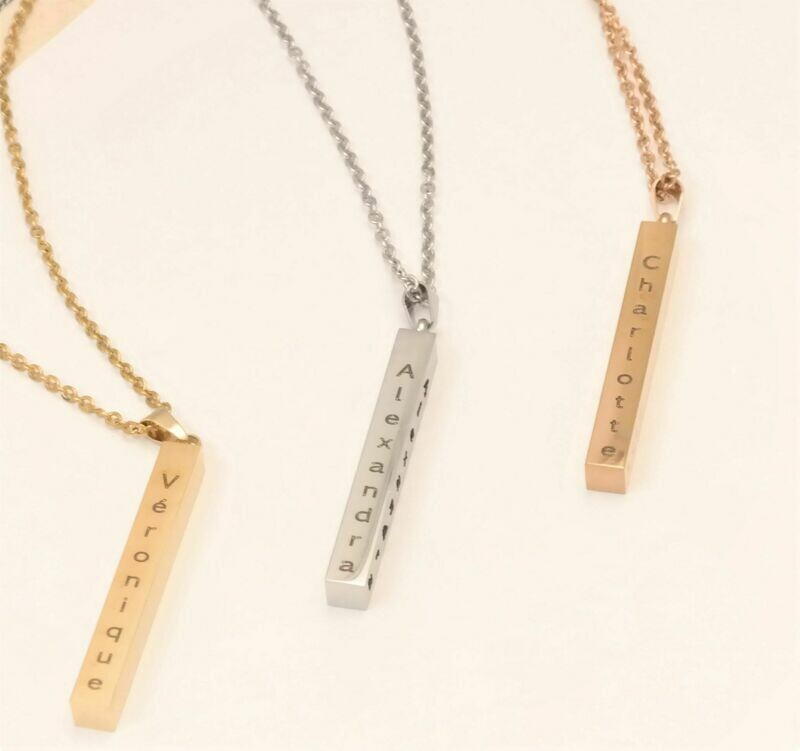 Personalized stainless steel pendant stick necklace