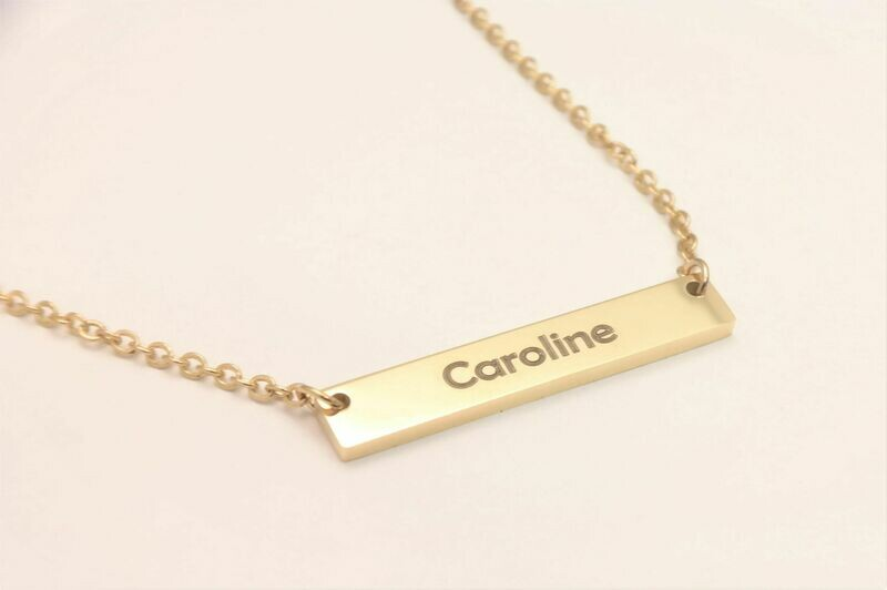 Personalized stainless steel woman necklace rectangular pendant