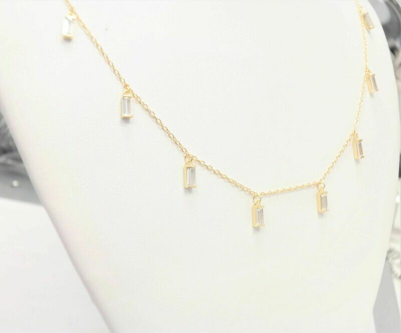 Beautiful gold plated necklace with stick pendants