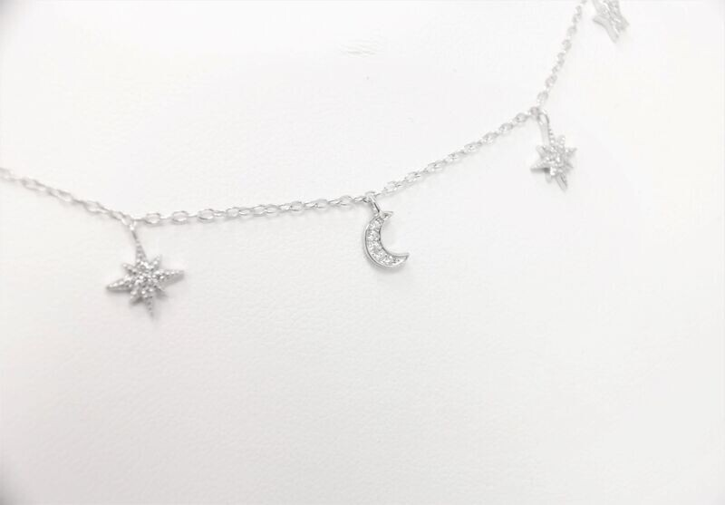 Beautiful trendy 925 sterling silver moon and star necklace
