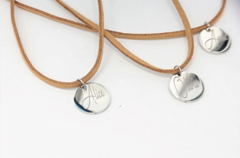 10mm round personalized pendant with chain
