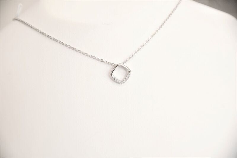 Beautiful trendy 925 sterling silver square set with CZ stones on one side