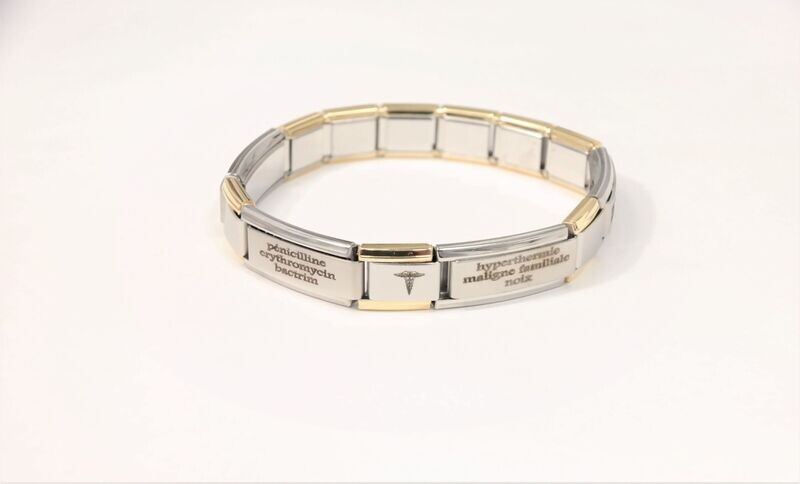 Elegant stretchy personalized medical bracelet, perfectly adapted to your wrist, comfortable and useful