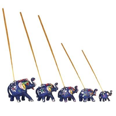 Set of 5 Blue Elephant Incense Burners