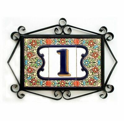 "4"" Flores Framed Handmade Spanish Ceramic House Number One Digit"