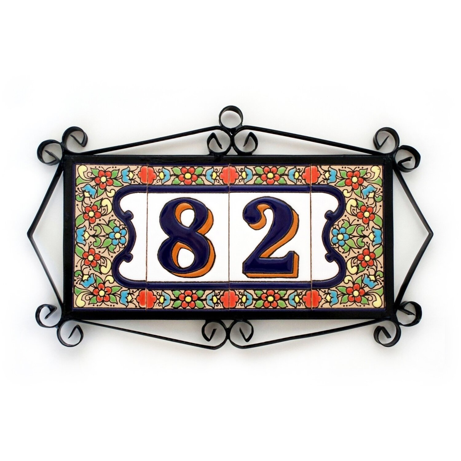 """4"""" Flores Framed Handmade Spanish Ceramic House Number Two Digits"""