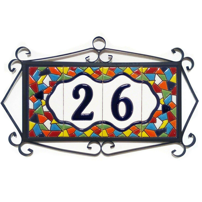 "4"" Mallorca Framed Handmade Spanish Ceramic House Number Two Digits"