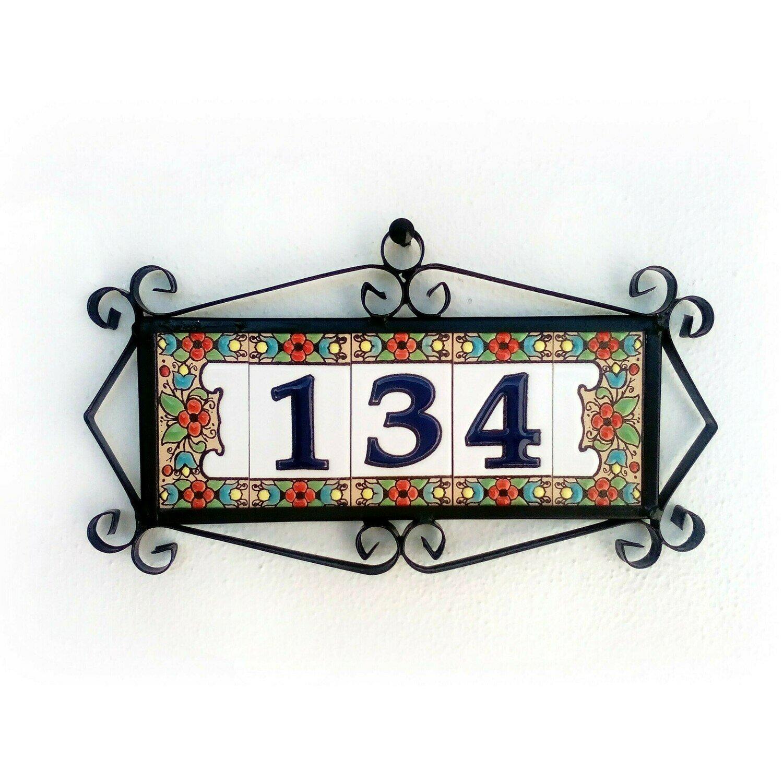 "3"" Flores Framed Handmade Spanish Ceramic House Number Three Digits"