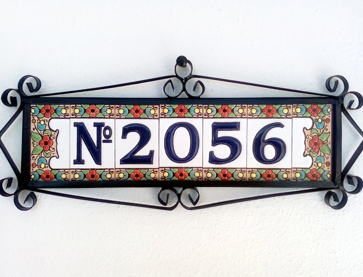 """3"""" Flores Framed Handmade Spanish Ceramic House Number Four Digits With Numero Sign"""