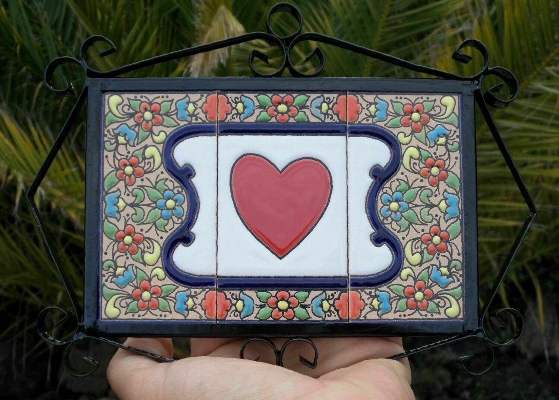 """4"""" Flores Framed Solid Heart Tile Decor Plaque"""