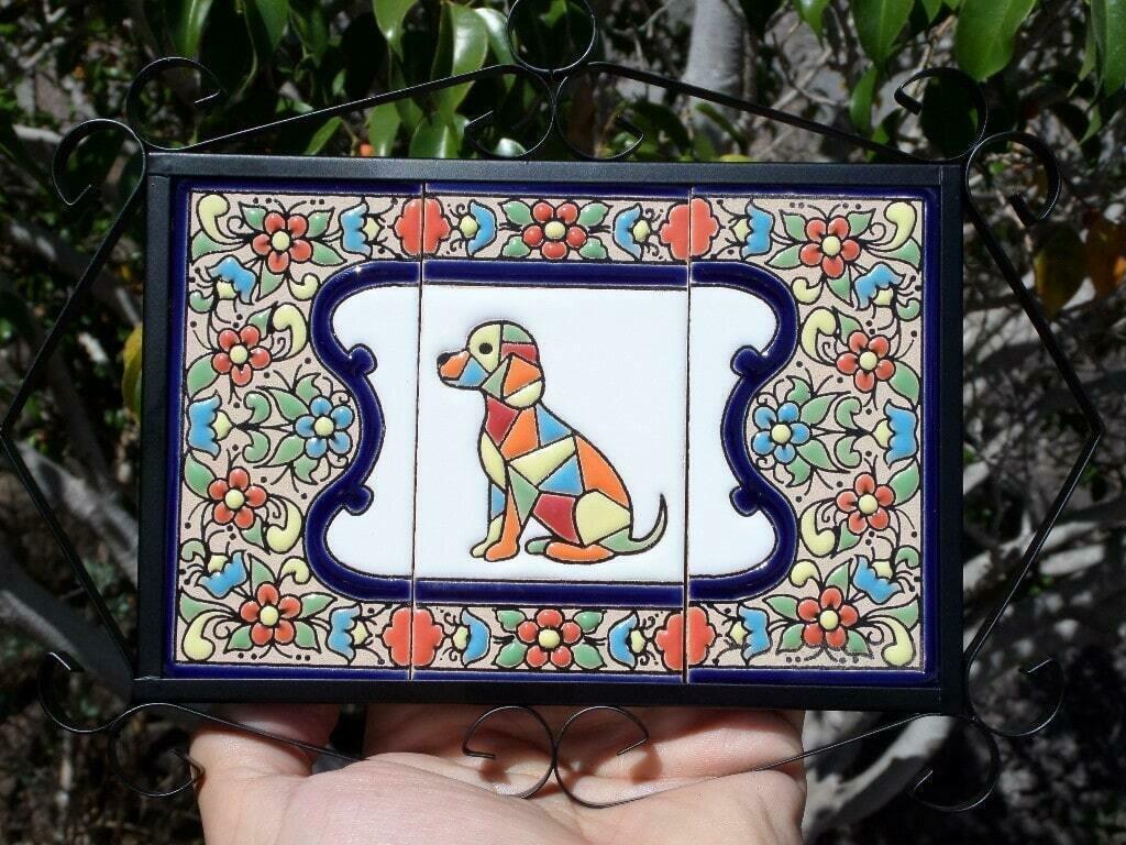 """4"""" Flores Framed Dog Tile Decor Plaque"""