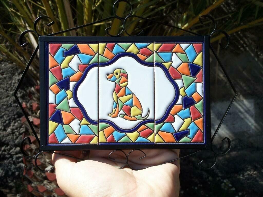 "4"" Mallorca Framed Dog Tile Decor Plaque"
