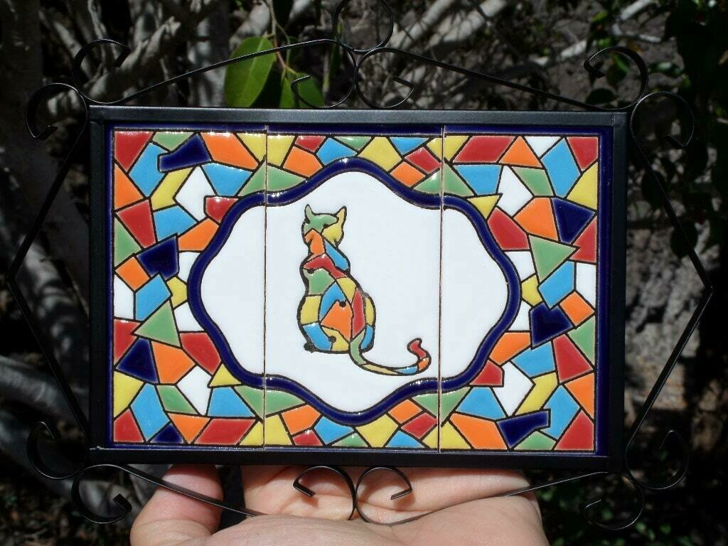 "4"" Mallorca Framed Cat Tile Decor Plaque"