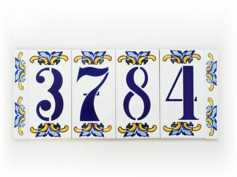 """6"""" Escarcha Handmade Spanish Ceramic House Number Four Digits No Frame"""