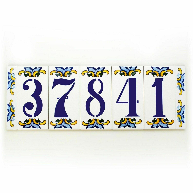 "6"" Escarcha Handmade Spanish Ceramic House Number Five Digits No Frame"